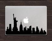 New York Skyline Silhouette Vinyl MacBook Decal BAS-0312