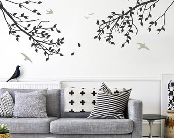 Branches with Leaves and Birds Two-Color Wall Decal - WAL-2114B