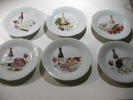 Vintage philippe deshoulieres limoge wine and cheese for Philippe deshoulieres canape plates