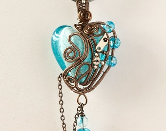 OOAK Aqua blue steampunk heart pendant