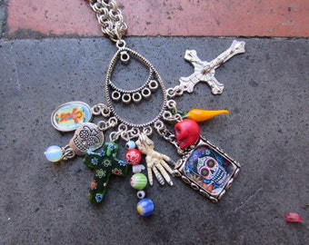 Day of the dead, Skull, Cross, necklace pendant