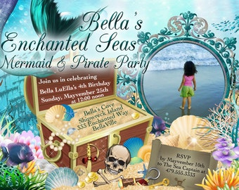 Mermaid Pirate Party, Mermaid Party Photo Invitation, Birthday Photo Card, Mermaids and Pirates