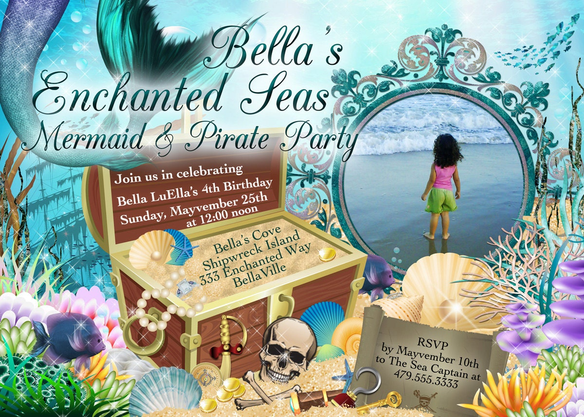 mermaid pirate party mermaid party photo invitation birthday