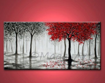 red tree painting,wall art,office home decor,misty forest,tree of life,black white red,18x36 inch stretched canvas,Made to Order