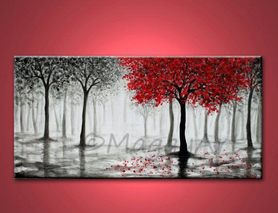 Red tree paintingwall artoffice home decormisty foresttree for Painting for beginners step by step