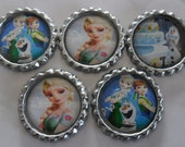 5 x Frozen Fever Inspired Flattened Bottle Caps - Great for Jewellery, Bows, Cards, Magnets