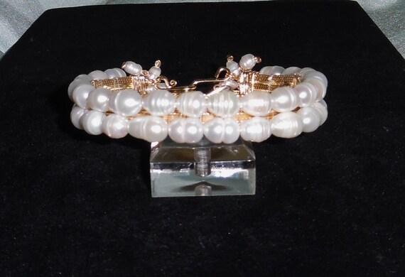 "XLarge Freshwater Cultured Pearls, 14kt yellow gold 8"" Custom Bangle Bracelet"