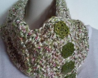 Crocheted Cowl Scarf - Lime Green and Pink