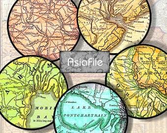 Printable Digital  U.S. Cities 1845 Maps  Digital Sheet  1 Inch Circles Tiles Digital Art  P rintable Download  30 Cities  Old Maps - CS 376
