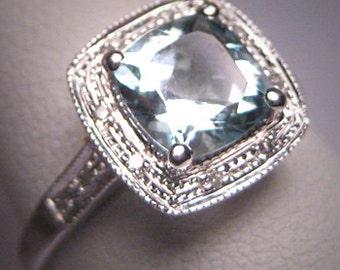 Vintage Aquamarine Wedding Ring Diamond Art Deco Engagement White Gold