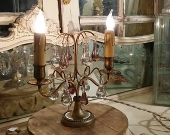Vintage French Brass Crystal Candelabra