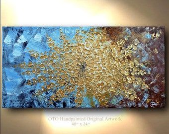 "Made to Order 72"" Gold Flower Painting Abstract Artwork Flowerscape Textured Modern Contemporary art Made to Order by OTO"