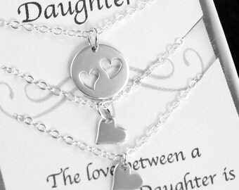 Heart Necklace - Mother and Daughter Jewelry -  Mothers Gift, Daughters Gift, Jewelry Sets, Tiny Heart, Double Heart, Gift Set