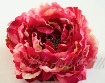 Jumbo Fuchsia HOT PINK Peony - 7 Inches - Silk Flowers, Artificial Flowers, Weddings