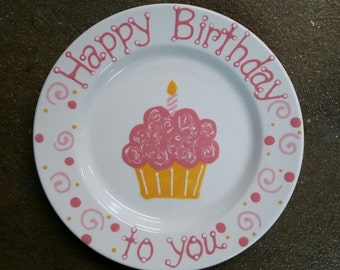 "Ready to ship - Hand Painted 10"" Ceramic ""Happy Birthday"" Plate (Pink)"