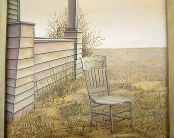 Vintage Magic Realism Original Art Painting: Haunted Farmhouse Chair Landscape Realistic Prairie Gothic Weird Canadian Creepy House Yellow