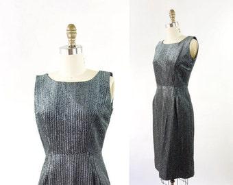 VINTAGE 1950s Cocktail Dress Black Silver Metallic