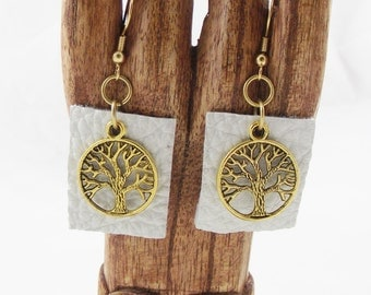 Tree of Life  Dangle Earrings gold findings earring upcycled  eco friendly jewelry  recycled white leather