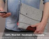 MacBook Air 13inch wool felt sleeve, Pure vegetable tanned leather, 100% wool felt LTS-GLB-AIR13