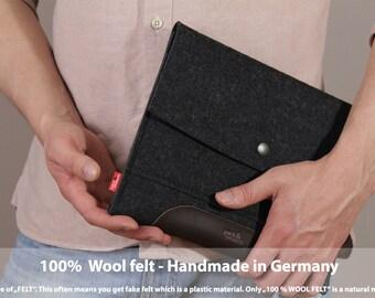 iPad 4, 3, 2 case,cover, sleeve pure wool felt, vegetable tanned leather, Merino IPS-ADB