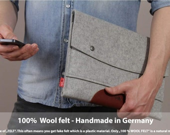 MacBook Air 13inch wool felt sleeve, Pure vegetable tanned leather, 100% wool felt LTS-GLB-AIR13