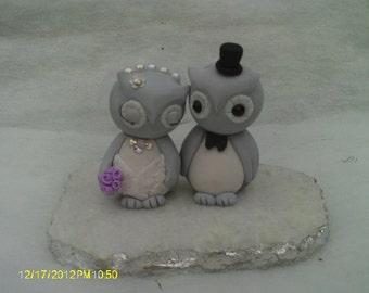 Bride and groom wedding owls