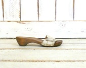 Vintage off white/ivory leather Danish open toe wooden clog sandals/flat mules/Sanita clogs