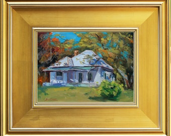 "Autumn Country Cottage Original Oil Painting Portrait, Modern Still Life Oil Painting, small painting, 8x10"" + frame size framed, gift item"