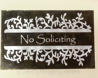 "No Soliciting 5""x8"" etched metal house or business sign Leaf Bracket style in slate and silver color"