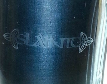 Glass beer stein with etched Celtic Gaelic Irish Slainte and Celtic knot design