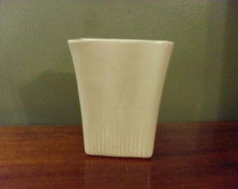 Vintage Retro White Pottery Rectangle Planter USA