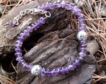 Amethyst Bracelet. Amethyst  And Sterling Silver Bracelet . Mineral Properties. Adjustable. Handmade. Mineral Bracelet.