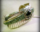 Sterling Feather Motif Cuff with Turquoise Inlay