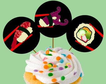 Instant Download Sushi Party Cupcake Toppers or Craft Circles