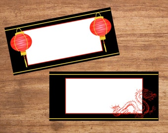 Instant Download Chinese Party Tent Cards Seating Cards