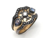 18ct Yellow Gold and Oxidised Sterling Silver Medieval Ring with Diamonds and Sapphires