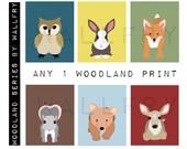 Personalized children nursery wall art for kids. Woodland animal owl nursery wall décor. ANY 1 Woodland print art for children.