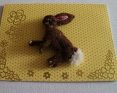 Little Brown running Hare brooch unique pin presented on a gift card ready to give as a special little gift.