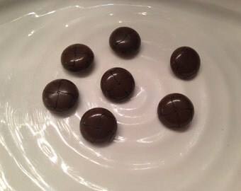 All the same - 7 vintage brown plastic shank buttons