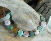 "Multicolored Indian agate bracelet 9"" long faceted circles toggle clasp semiprecious stone jewelry packaged in a colorful gift bag 11093"