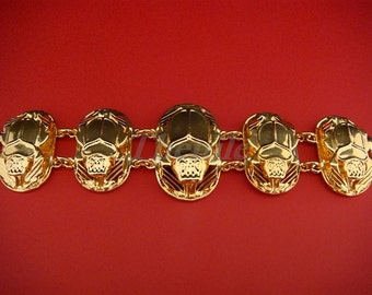 Egyptian  Brass Bracelet with 5 Scarabs And Hieroglyphics