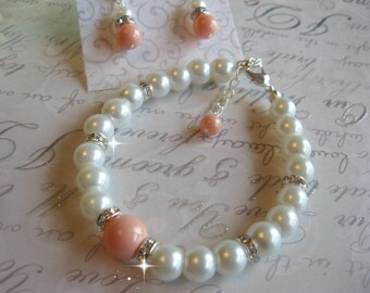 Swarovski Pink Coral Pearl and Rhinestone Bridal Bracelet and Earring Set - Bride or Bridemaid Jewelry Set -  Choose Your Color