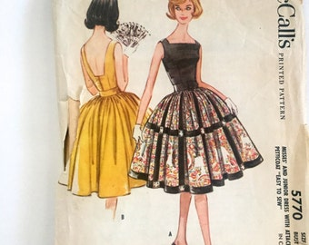 60s McCalls 3338 Full Skirt Evening Dress  with Low Back Sleeves, Below Knee Length Size 9 Bust 30