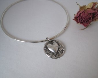 Silver Heart Bangle, Sterling Silver Bangle, Heart Bracelet, PMC