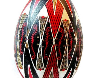 Ukrainian Egg, Pysanky, Goose egg in black, red and gold
