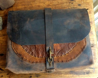 Handmade leather messenger bag, Rugged leather messenger, Commuter laptop bag, Cool messenger bags, Custom made in NYC, Handstitched leather