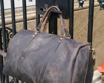 Rugged luggage, Globe trotter suitcase, Leather duffels, Good luggage, Best handmade leather bags, Mens duffle, Leather bags made in the USA