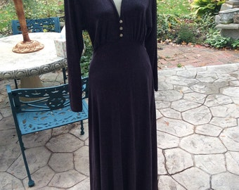 1975 Carol Anderson Purple Knit Glitter Floor Length  Gown