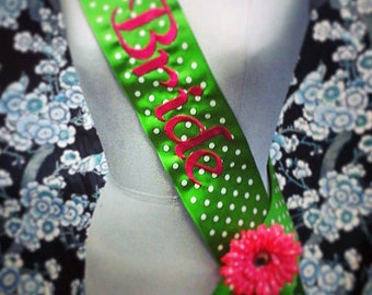 BRIDE bachelorette shower bridal party embroidered sash