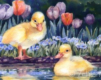 Duckling Print 8x10 Baby Animal Nursery Art for Kids by Janet Zeh